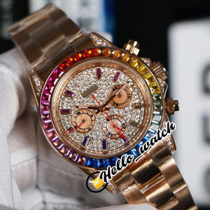 Nouvelle 40mm or rose 116595 RBOW Gypsophila Dial automatique Mens Watch arc-en-Bâton Marqueurs Diamond Bezel (Non Chronograph) Hello_Watch.