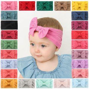 New 27 color Baby Girl Soft Nylon Headband Turban Bow Knot Stretchy Hair Bands Nylon Twist Headwrap Fashion Hair Accessories