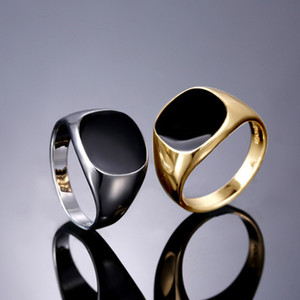 Moda Simples Gotejamento Óleo Anéis Pretos Para As Mulheres Homens Masculino Prateado Cor de Ouro Anel de Festa de Casamento Acessórios de Jóias Por Atacado Bagues Femme