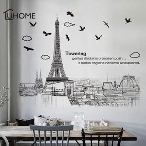 Modern removível Wall Stickers Grande Alto Cor Preto Torre Eiffel para Sala Quarto Decoração Room Decor