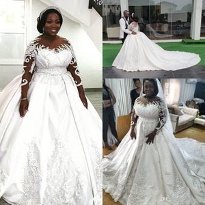 Elegant Dubai Arabic Plus Size Satin Ball Gown Wedding Dresses Lace Beaded Bridal Gowns Sheer Long Sleeves Court Train Vestidos