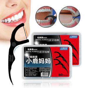 50pcs / Box Bambus Charcoal Black Dental Floss Zähne Stock-Zahnstocher Interdentalbürsten Zähne sauber Zahnstocher Flosser Werkzeug