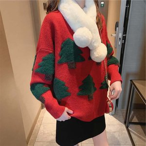 donne maglioni pullover Capodanno Natale maglione casuale bella O-Collo abiti invernali donne albero di Natale lavorato a maglia