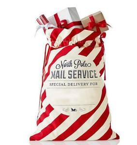 Presente de Natal Envelope Bags listrada vermelha do Natal Bolsa de lona de Santa Sack Drawstring saco de lona Doces Sacos Xmas Decorações de Novo GGA2771