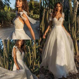 Свадебные платья Asaf Dadush Beach 2019 Fairy Butterfly Спагетти Полная длина Кружева шифон Чешское свадебное платье со спиной