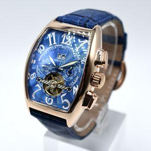 Турбийон автоматическая механическая кожа мужские часы мода полый скелет день дата мужчины дизайнер часы Оптовая мужские подарки saat