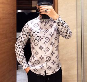 camisas ocasionales calidad superior del diseñador de moda de los hombres clásicos del monograma # 005 Europa de París de lujo de negocios a largo vestido de la manga de la camisa de la máscara GG medusa