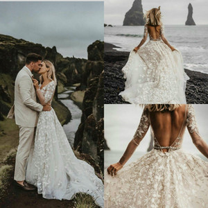 Long Sleeves Beach Wedding Dresses Backless Lace Applique Country Boho vestido de novia Tulle Wedding Gowns Customise