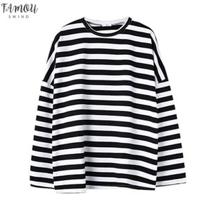 Autumn New Black And White Long Stripes Loose Long Round Neck Collar Pullover Clothes Women Drop Shipping