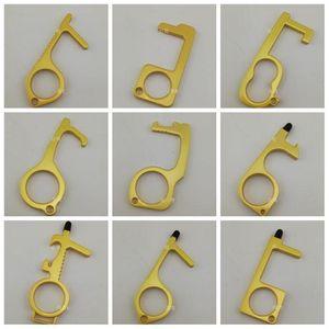 Realizada Higiene das Mãos Maçaneta Opener liga de metal oco Out Key Shaped Elevador Gadget EDC Chaveiros Portas Abertas Hot Sale 4 8LY E19