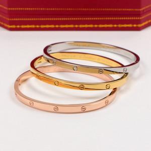 par de titânio de modaaço Cartier versão estreita subiu bracelete de ouro 18k homens e mulheres presente de fivela NO BOX A4