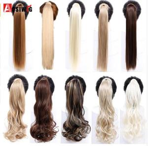 """24 """"120g Clip recto en la cola del cabello Pelo falso Ponytail Hairpiece con las horquillas Pelos sintéticos Extensiones del pelo de Pony Tail"""
