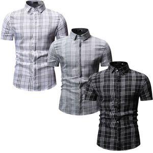Homens de Negócios de Moda Casual Cardigan V-neck lapela camisa xadrez de manga curta camisa dos homens Top