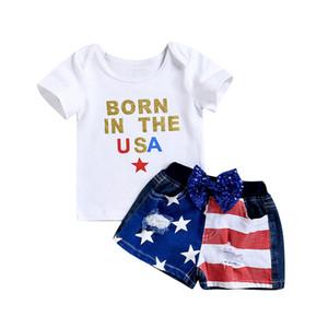 Ropa de diseño para niños, muchachos, trajes de la bandera americana, niños top + Agujero, pantalones cortos de mezclilla, 2 unids / set, 2019 Verano, 4 de julio, ropa para bebés C6570