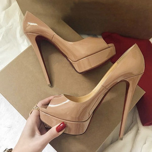 Los mejores zapatos de tacón alto Sandalias de diseño Pummps inferiores rojos Puntera abierta de cuero genuino dedos de los pies redondos para mujeres Vestido Tacones Sandalias de pantalones gruesos