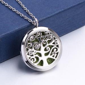 Imán abierto hebilla árbol de la vida collar de acero inoxidable Aroma Perfume colgante magnético aceite esencial difusor Locket collar
