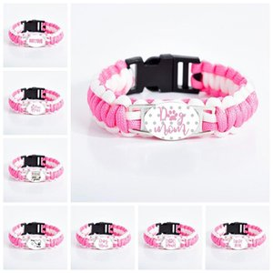 Dog Cat Mom Charm bracelets For women Mother Glass Cabochon claw Sign Pink Outdoor Sport Bangle Fashion Jewelry in Bulk