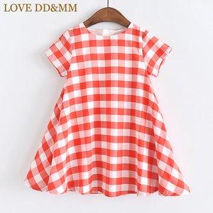LOVE DD&MM Girls Dresses 2020 Summer New Children's Wear Girls Fresh Plaid Simple Comfortable Round Neck Dress
