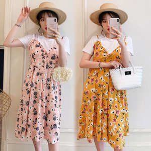 Maternity Clothes 2020 Pregnant Women Dress Summer New Style Short Sleeve Pregnant Women Strapped Dress Two-Piece Set Cotton Sle