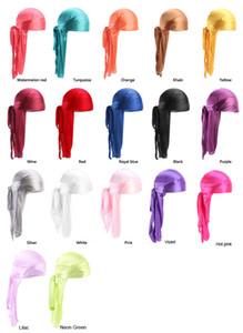 Pas cher soie longue queue écharpe Cap satin Durags hommes Bandana Turban Perruques hommes Silky Durag Couvre-chef Pirate Hat 13 couleurs