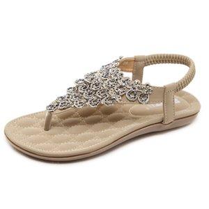 Bayan Bohemia Çevirme Rahat Plaj T-Kayışı Düz Sandalet Rhinestone Perçin Çiçekler Sandal Elastik Tanga Ayakkabı Yumuşak Rahat ayakkabılar