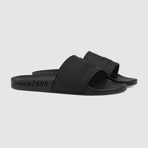 Heiße Sale-fashion schwarze Gummi Rutsche Sandalen Gummi Flip Flops geprägt Herren und Damen Outdoor Strand flache Hausschuhe