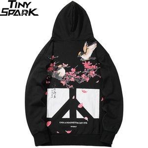 Men Hip Hop Hoodies Sweatshirt Floral Bird Print 2019 Harajuku Streetwear Chinese Kanji Hoodie Pullover Autumn HipHop Oversized Y200704
