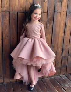 2020 Blush Pink Sparkling Sequined Flower Girl Dresse Hi-Lo Ball Gown Little Girl Wedding Dresses Cheap Communion Pageant Dresses Gowns