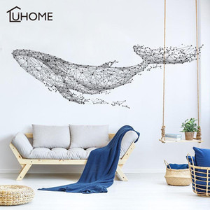 Large 165*55Cm 65*21in Black DIY 3D Geometric Whale PVC Wall Decals Adhesive Family Wall Stickers Mural Art Home Decor T200111