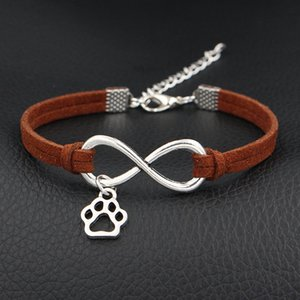 Elegante vintage in pelle scamosciata marrone scuro Bracciale Bangles Boho Boho Infinity Love Cute Mini Dog Paw Print Wrap maschio femmina gioielli partito