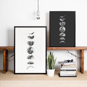 Home Decor Pittura Fasi lunari Calligraphy Wall Art Canvas Poster Print, Fasi bianco e nero Luna pittura poster La Luna