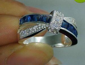 Belas NOVO 100% Brand frete grátis Fine Jewelry prata 925 safira azul Gem Mulheres casamento cinto de fivela anel size6 / 7/8 / 9with caixa