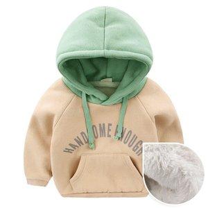 2018 Sonbahar Ve Kış Yeni Çocuk Kapşonlu Giyim Bebek Boys Kalınlaşma ile Pocket Coats 1-4Y Triko Isınma Boys Artı Kadife