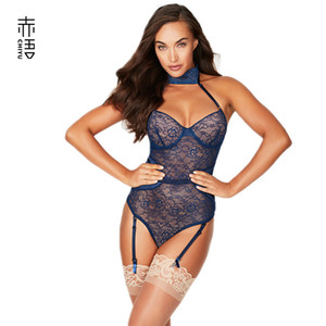 INS Red Language 2019 New Style Sexy Underwear in Europe and America Rims Gathered Sexy Lace Halter Garter Sexy Jumpsuit Sale