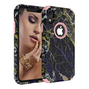 iPhone Xr 케이스 용 3in1 대리석 수비수 케이스 iPhone Xr Xs Max 용 하이브리드 듀얼 레이어 견고한 보호 전화 케이스