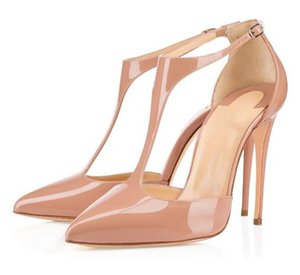 With box 2019 Fashion luxury designerRed Bottom Womens Handmade Fashion 120mm T String Pointy Ankle Strap High Heel Pump Sandals Shoes
