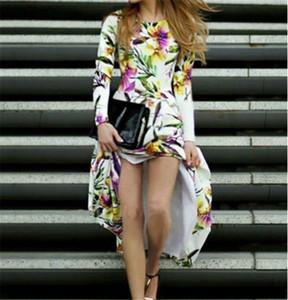 Progettista delle donne Fashion Dress girocollo a maniche lunghe Zipper Dress stampa floreale femminili rivestite contrasto abiti di colore