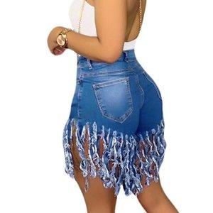 Liooil Neon Tassel Jeans Shorts Femmes 2020 Été élastique taille haute Coton Sexy Rave Jean Court Plus Size Biker Denim Shorts