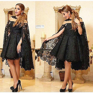 Knee Length Short Black Lace Mother Of The Bride Dresses with Cape Modest Mother of Groom Suit Wedding Party Formal Evening Gowns