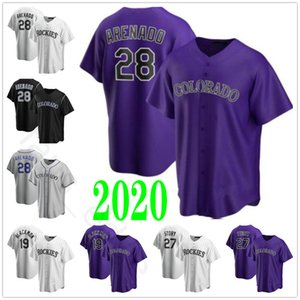 2020 Nuevo Mens # 28 Nolan Arenado Jersey 19 Charlie Blackmon 27 Trevor historia cosida Home Road púrpura blanco camisetas de béisbol