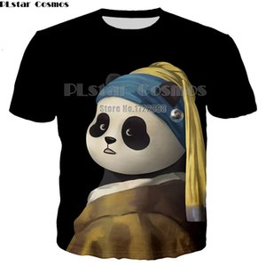 PLstar Cosmos 2018 Summer Tees Hombres de impresión en 3D animado lindo de la historieta de la panda Hombres camiseta de manga corta del O-cuello de la camiseta Tops Dropshipping