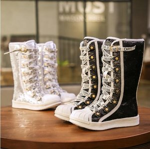 2019 Kızlar Boots ışıldamaya Çocuk Ayakkabı Çocuk Nefes Kar Boots Kızlar Çocuk Kauçuk Taban Moda Kış Bebek Bota