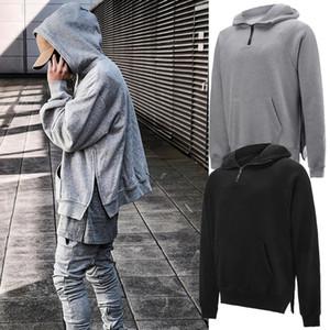 Mens Clothing Homme Hooded Sweatshirts Mens Hoodies High Street Hoodies Hip Hop Pullover Winter Sweatshirt Side Split Half Zip Pullover