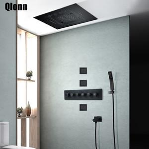 Home Improvement torneira Banheiro Black Music LED termostática Set Misturar chuveiro válvula Tap Latão Rain Shower Sistema Oculto
