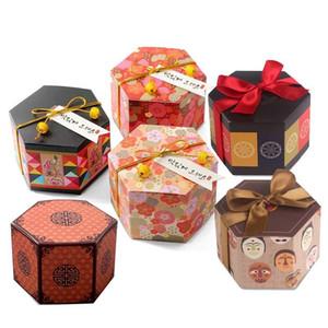 6 modelli Hexagon Cherry Plum Blossom Fiore modello di carta di caramella di favore di cerimonia nuziale e regalo della decorazione del partito 7.5x7.5 XD23168