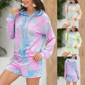 Fashion Womens Casual Loose sexy Long sleeve Printed Tie-dye Home Suit