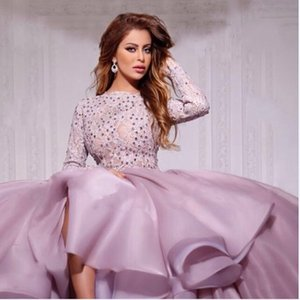 Lilac Evening Dresses 2020 Ball Gown Long Sleeves Tulle Lace Crystals Formal Islamic Dubai Kaftan Saudi Arabic Long Evening Gown