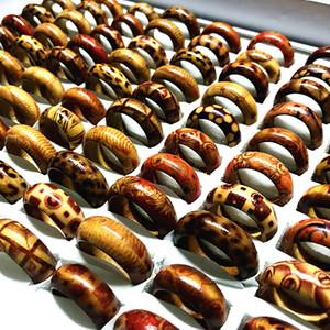 das mulheres dos Estilos 100pcs Mix Handmade Artesanato Homens Partido Banda Madeira Moda Natural jóias anéis presentes novíssimo transporte da gota lotes por atacado
