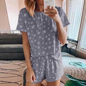 Para mujer corta impresa pijamas Set Loose tes de las tapas y los cortocircuitos dormir Set del cortocircuito del verano ropa de dormir Homewear Suit Pijama Mujer