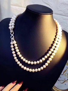 Hand knotted 2strands 7-8mm white freshwater pearl necklace sweater chain long 43-48cm fashion jewelry